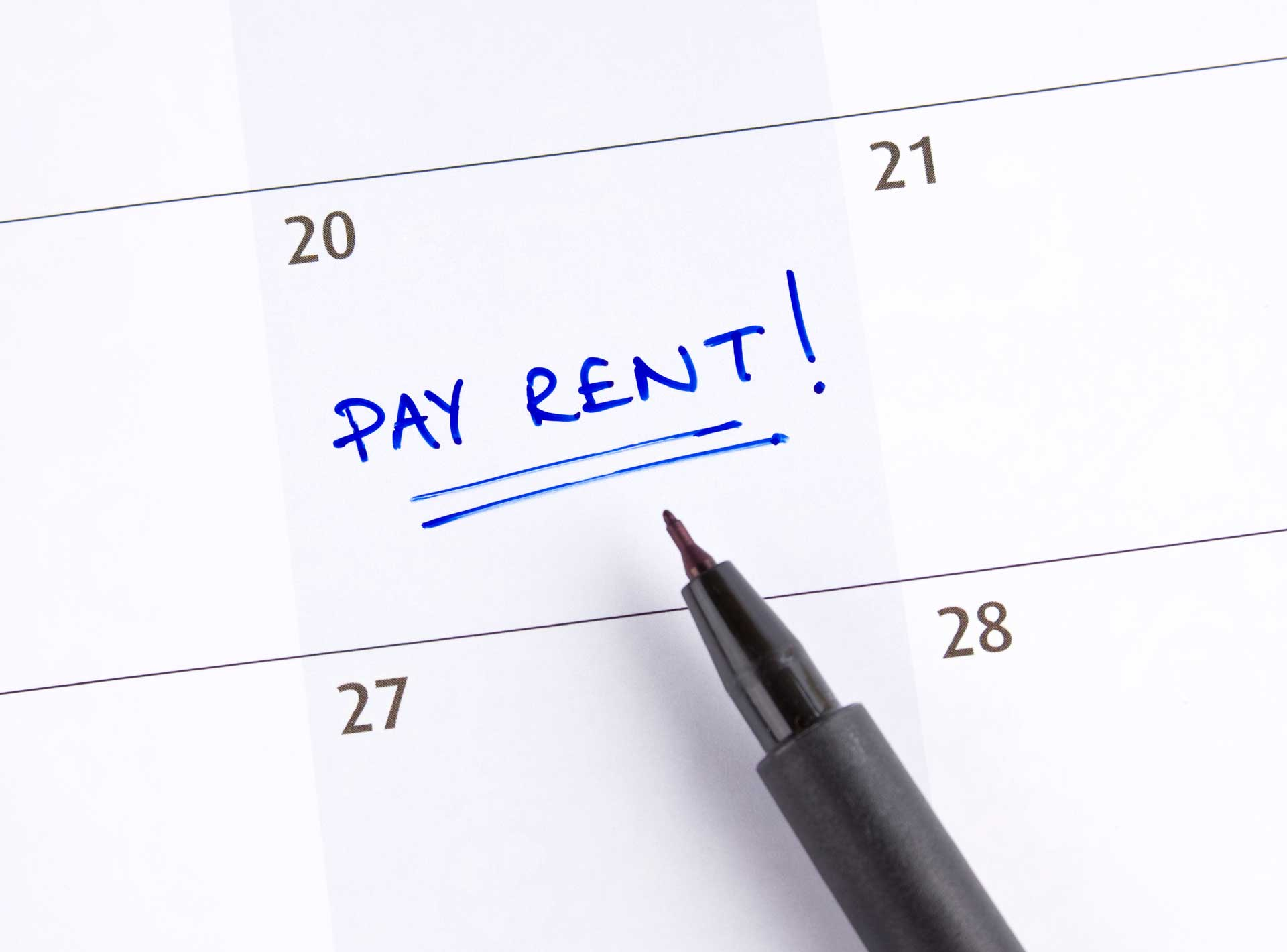 pay rent day on calendar