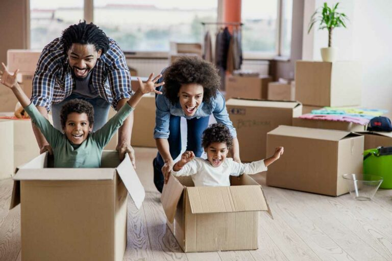 happy family moving in