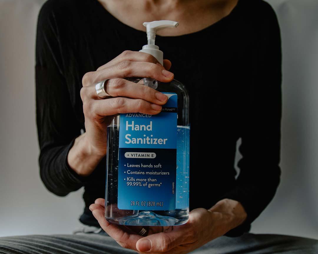 hand sanitiser at property rental viewing