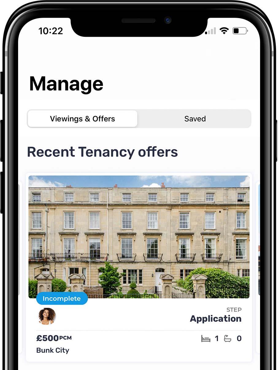 Bunk tenants app manage tab